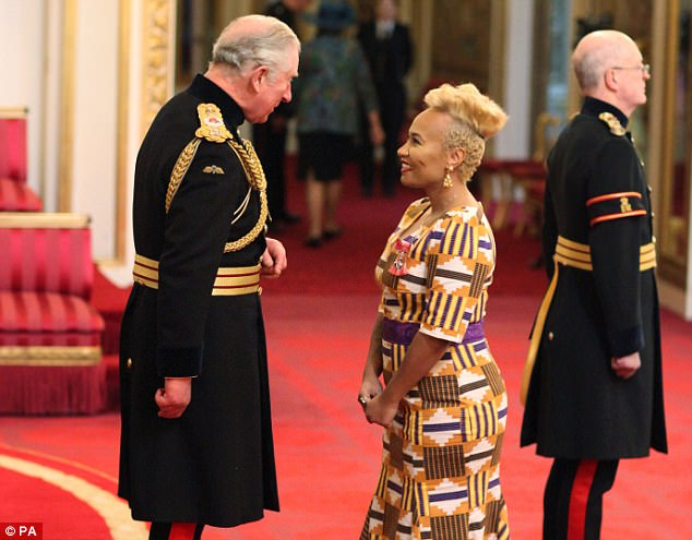 Dressed to impress:Emeli dazzled for the big day as she donned a colourful peplum hem dress cut to ankle length to show off her black court heels