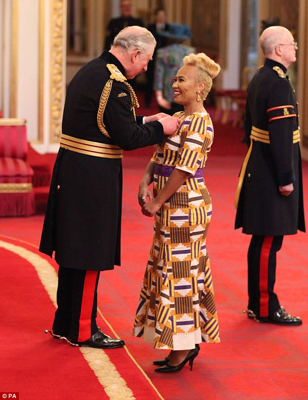 Singing sensation:Emeli Sandé was awarded an MBE in a ceremony with Prince Charles at Buckingham Palace on Thursday