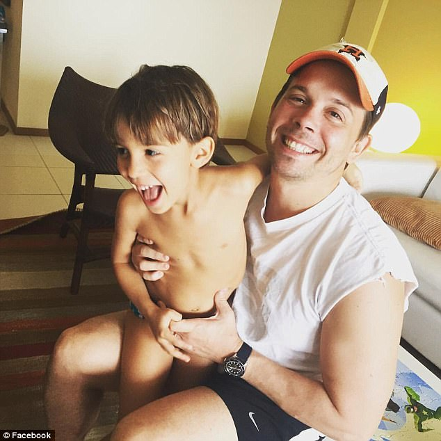 The father is pictured on his Facebook page smiling next to his joyful son Nico in this image