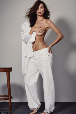Denim dream: Emily Ratajkowski set pulses racing as she posed topless forDL1961 brand for its new campaign