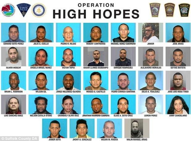Una prolongada operación de escuchas telefónicas realizada por un grupo de trabajo conjunto que incluyó agentes de la Administración de Control de Drogas y la policía de Boston resultó en un barrido temprano de las drogas y 37 sospechosos