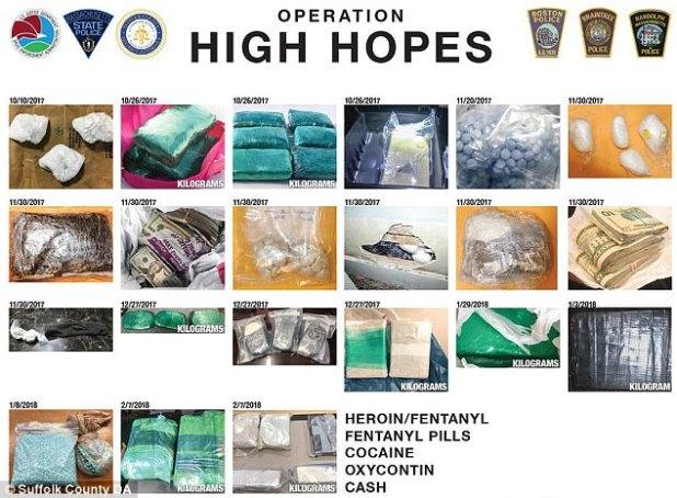 En total, se decomisaron 77 libras de drogas, incluyendo heroína, cocaína y tabletas de opiáceos además del fentanilo.  Las autoridades dijeron que confiscaron $ 300,000 en dinero de drogas