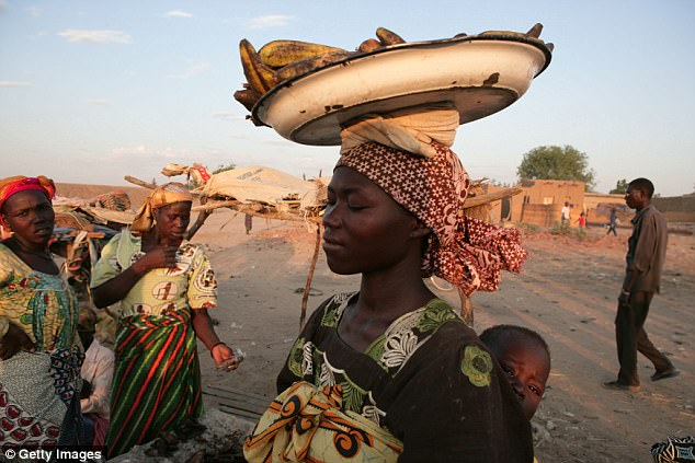 Sex workers were reportedly invited to the Oxfam team house on a number of occasions. Pictured: A Chadian woman at market