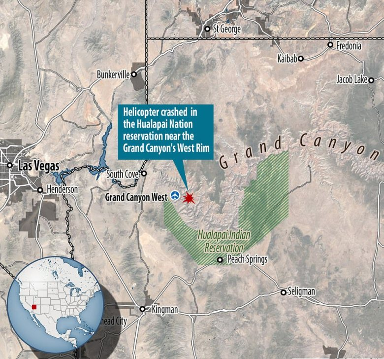 The helicopter crashed on the Hualapai Nation reservation near the Grand Canyon's West Rim - about 60 miles northwest of Peach Springs, Arizona