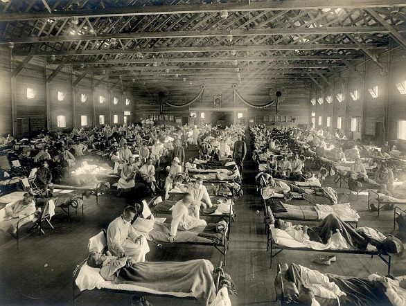 The Spanish flu has killed an estimated three to five percent of the world's population and is one of the deadliest natural disasters in human history. This picture shows soldiers from Fort Riley, Kansas, who have contracted the virus