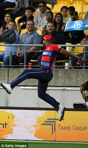 The all-rounder took a one-handed catch in the deep off the bowling of Adil Rashid