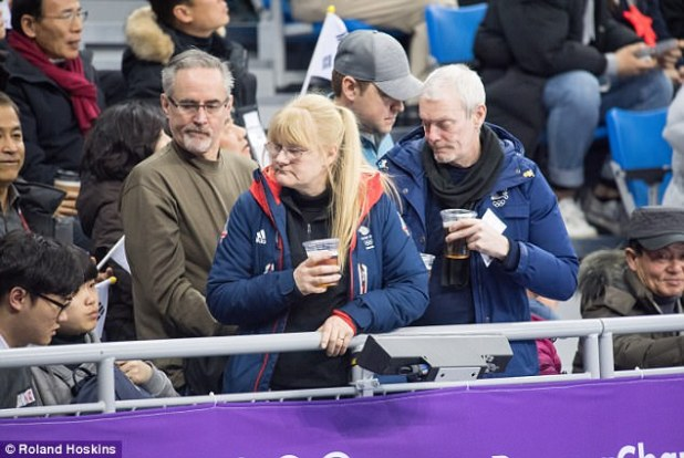 Elise Christie's mother Angela Wright (pictured) watches here daughter competing in the Speed skating 500m short track event at the Pyeongchang 2018 Olympics
