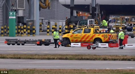 One of the vehicles involved in the crash at Heathrow Airport where the man in his 40s died