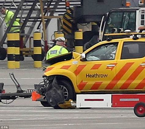 Two airport vehicles crashed on the airfield at London Heathrow, including the one pictured