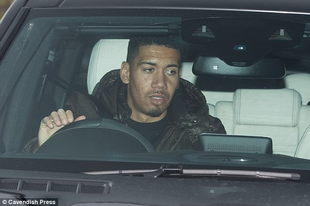United defender Chris Smalling arrives at Carrington to prepare for the Huddersfield match
