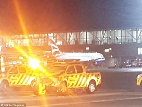 The crash between two vehicles happened before sunrise at London Heathrow this morning