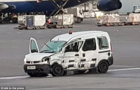One of the two vehicles involved in the accident at London Heathrow is pictured