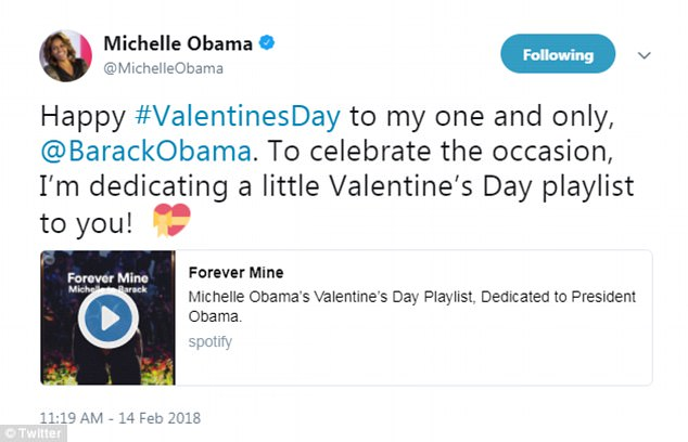 Kisses: Michelle published a Spotify playlist dedicated to her husband for the holiday