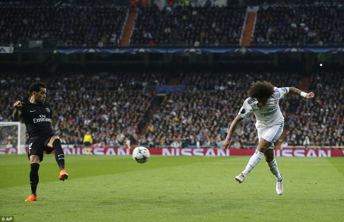 Marcelo makes his way forward before hammering a low cross across the face of goal, but nothing comes of it