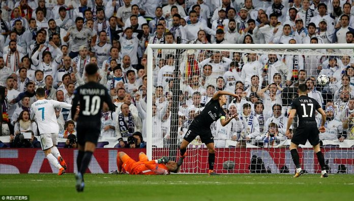 Ronaldo was on hand late on in the penalty area when Marco Asensio's cross was palmed into his path