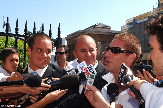 Brothers Koby (left), Sunny (centre) and Jai (in sunglasses) Abberton outside court in 2006
