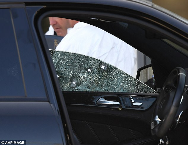 Harding said he believes at least three people were involved in the murder, which bears all the hallmarks of a paid hit. Pictured: The car ridden with bullets