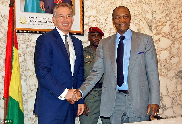 Mr Soros' organisation in 2012 £429,000 hiring Blair and his aides to help the leader of Guinea,Alpha Conde, 'manage and execute his ambitious reform agenda effectively'