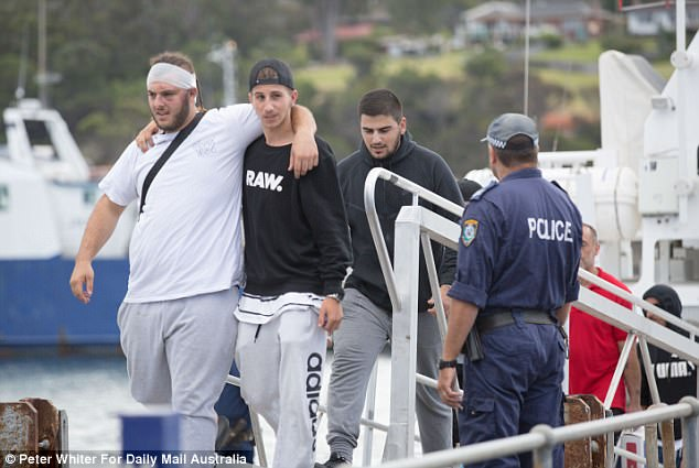 Dramatic images emerged of some members of the family leaving the cruise ship - with one man wearing a bandage on his head