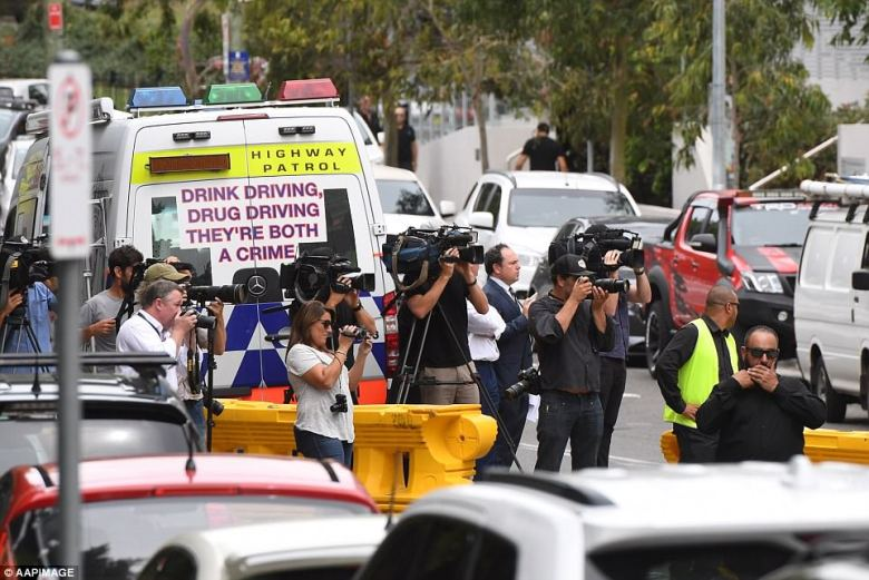 There was a large media and police presence at the Comanchero boss' funeral on Thursday