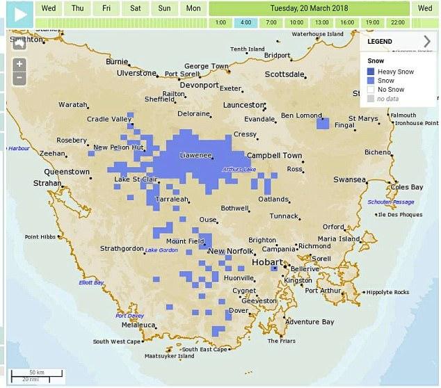 Taylor acredita que vai nevar na Tasmânia durante o fim de semana - apesar das expectativas de um verão mais longo