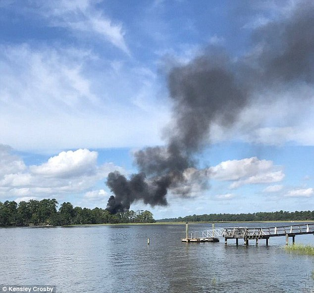 A $100million fighter jet was completely destroyed when it crashed during a training exercise in South Carolina on September 28 (pictured)
