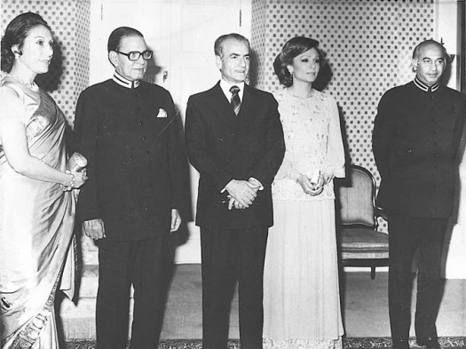 Born on March 23, 1929, Nusrat had lived a life of comfort after marrying Mr Bhutto as his second wife in 1951. In this file photo, Begum Bhutto is seen along with their imperial majesties, the Shahanshah Arymehr and Shahbano of Iran, Prime Minister Zulifikar Ali Bhutto and President Fazal Illahi Chaudhry. ? Dawn File Photo