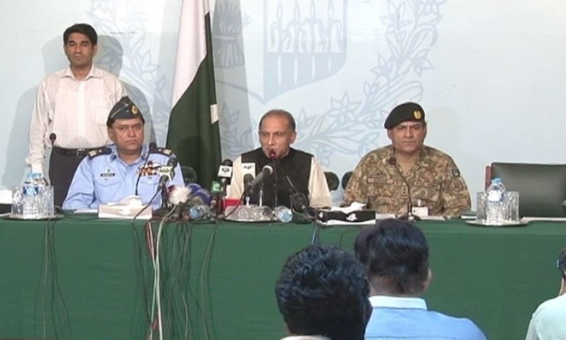 Foreign Secretary Aizaz Ahmad Chaudhry addressing a press briefing in Islamabad.