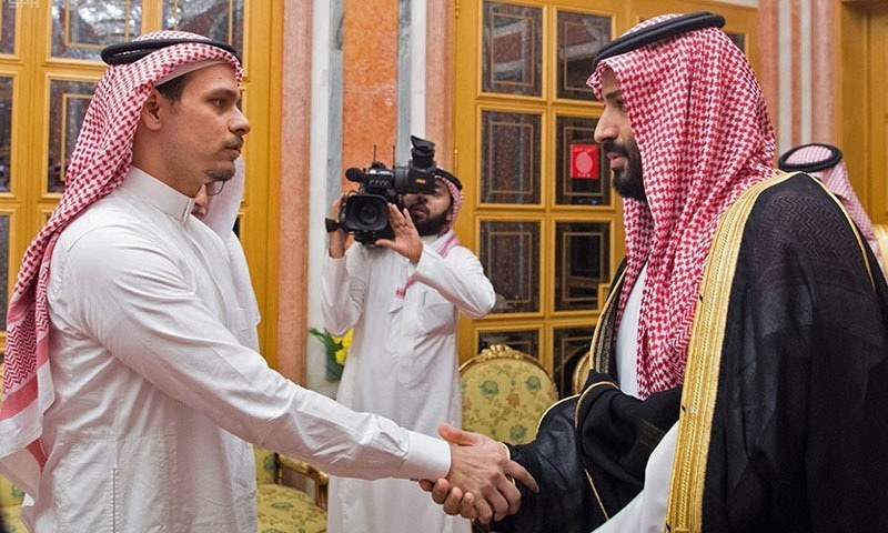 A handout picture provided by the Saudi Press Agency (SPA) on October 23 shows Saudi Crown Prince Mohammed bin Salman meeting with family members of slain journalist Jamal Khashoggi in Riyadh. — AFP