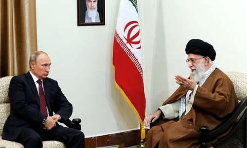 Iran's supreme leader Ayatollah Ali Khamenei holds talks with Russian president Vladimir Putin in Tehran.─AFP