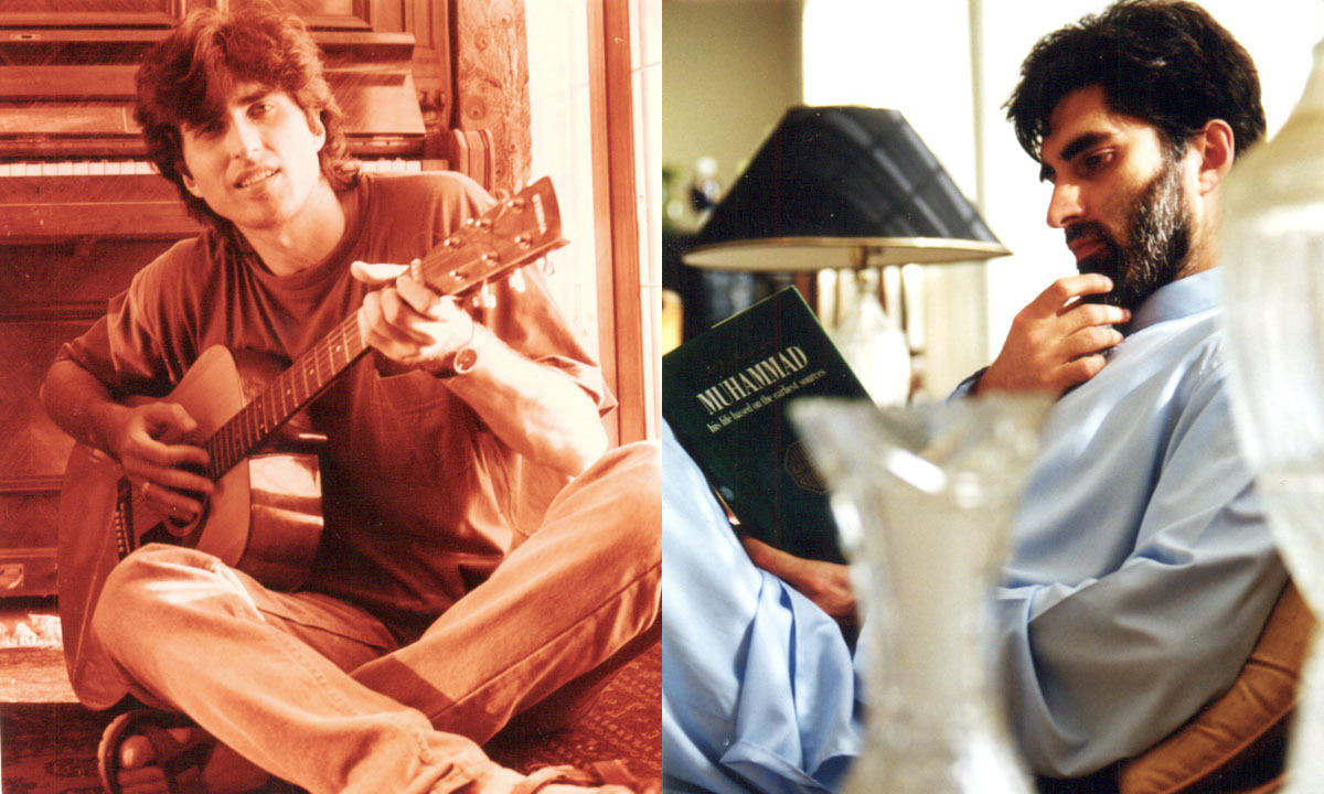 A view of Junaid Jamshed with his old inspiration (L) and a view of him seeking spiritual inspiration (R)