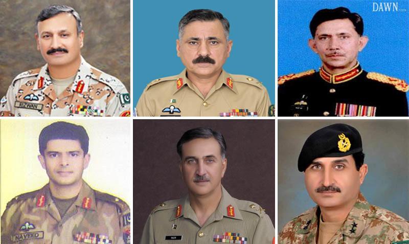 Starting from the extreme left, Gen Rizwan Akhar, General Hidayat ur Rehman, Gen Ghayur Mahmood,  Gen Naveed Mukhtar, Gen Nazir Butt and Gen Hilal Hussain.
