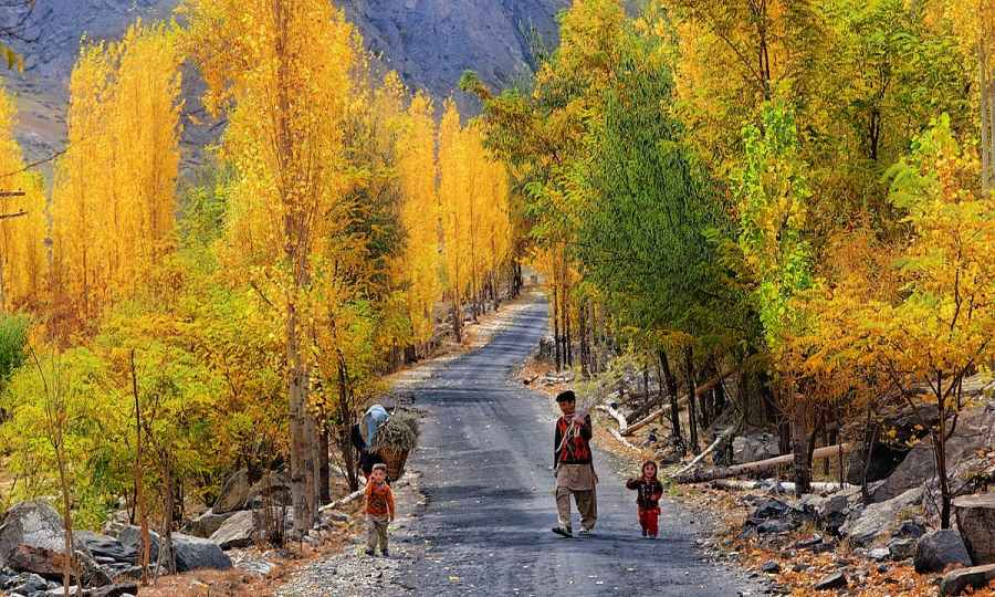 Road in Skardu in autumn. — S.M.Bukhari