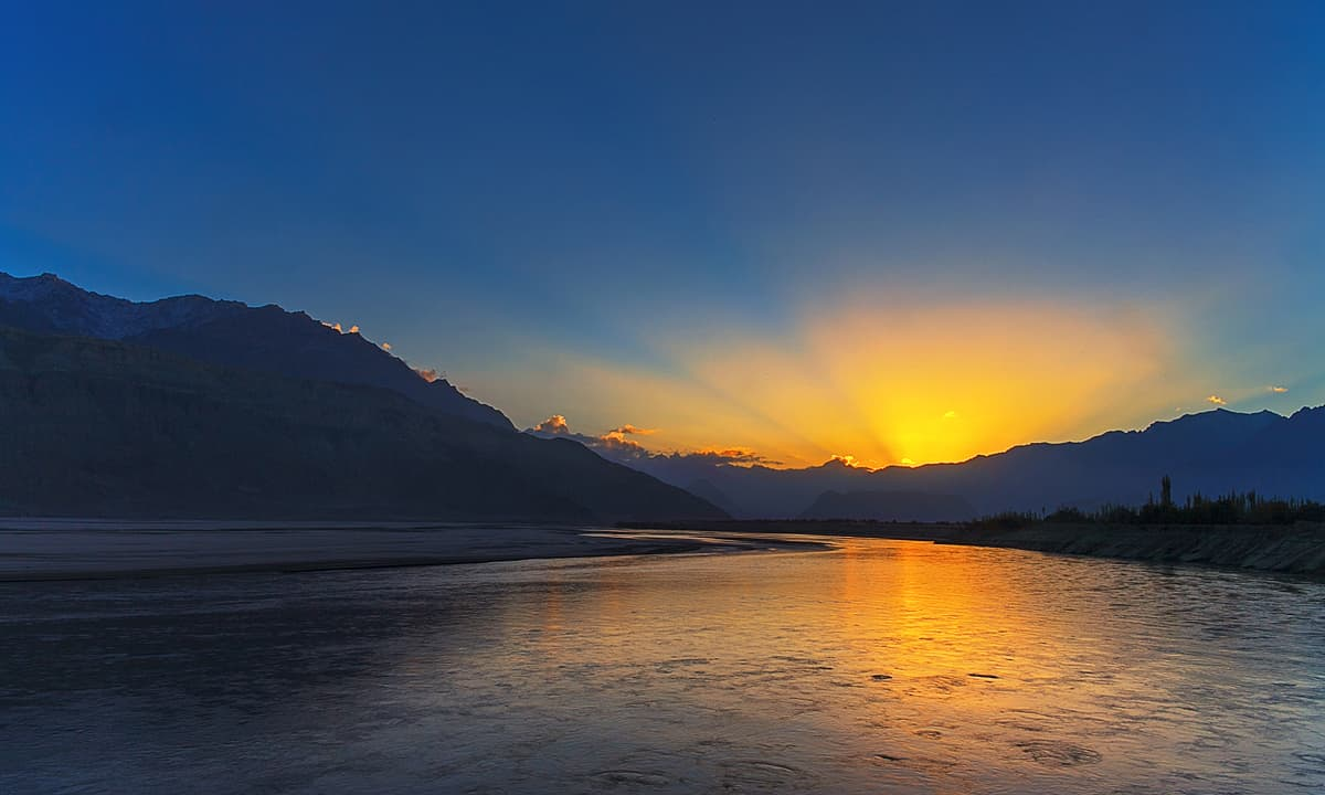 Sunrise of Indus river. — S.M.Bukhari