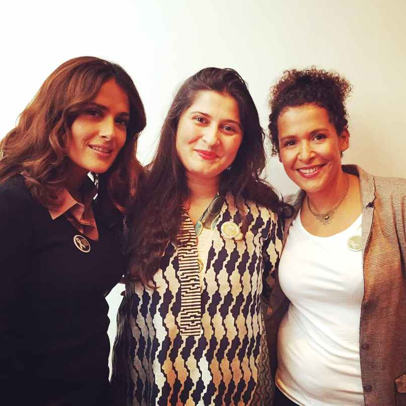 Sharmeen with Salma Hayek and Marianne Pearl