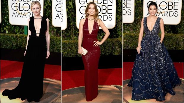 From L-R: Kirsten Durst in Valentine, Olivia Wilde in Michael Kors and Jenna Dewan Tatum in Zuhair Murad