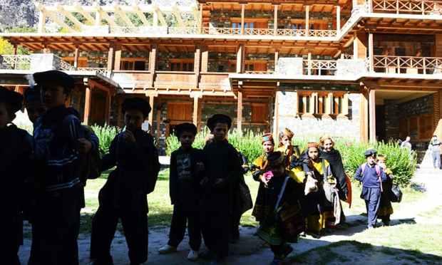 Kalash students leave a school in the Brun village of Bumboret valley. ─ AFP