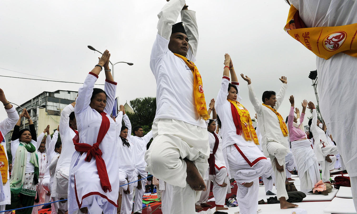 Nepali yoga practioneers take part in a yoga session to mark International Yoga Day in Kathmandu. AFP