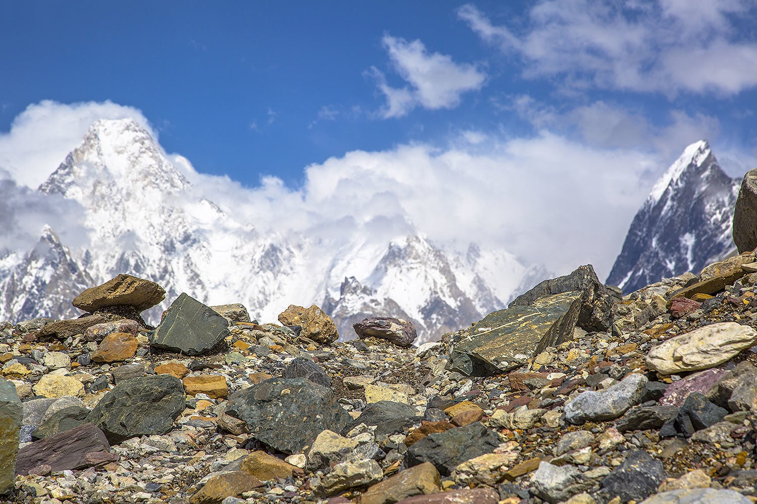 Our first view of Gasherbrum-4 as we climb up the valley.