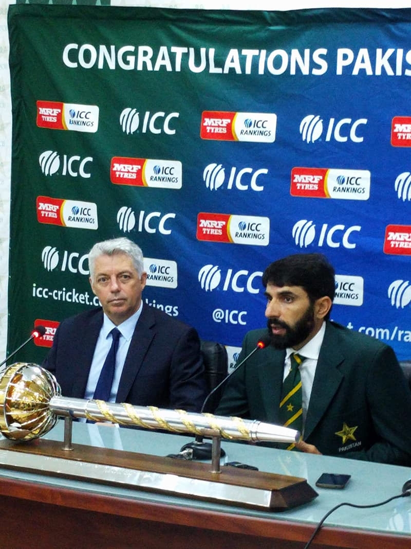 Misbah-ul-Haq and ICC chief executive Dave Richardson during the press conference. — Photo: Ahsan Iftikhar Nagi