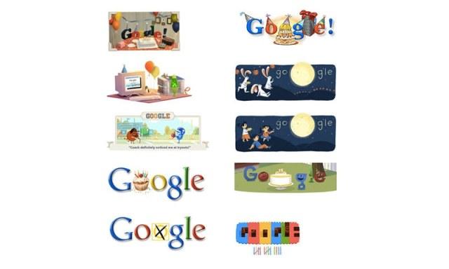 گوگل کی سالگرہ کے مختلف ڈوڈلز، فوٹو بشکریہ گوگل
