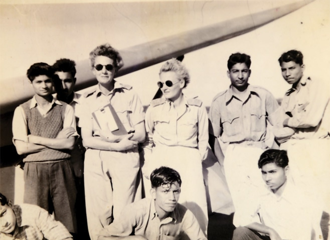 Mrs Zofia Turowicz (third from left) with other instructors and cadets (Chaklala,1954)