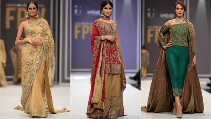 Mona Imran's 'wedding festive' collection had nothing new to offer, but one enjoyed the lovely Sajal Aly (centre) walking the runway