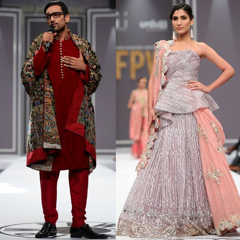 Ali Sethi (left) may have stolen the limelight from the models in Nida Azwer's showcase