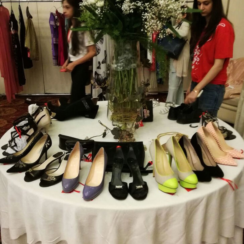 The shoes weren't as big a hit because of size issues, though there were a number of high end brands for sale.
