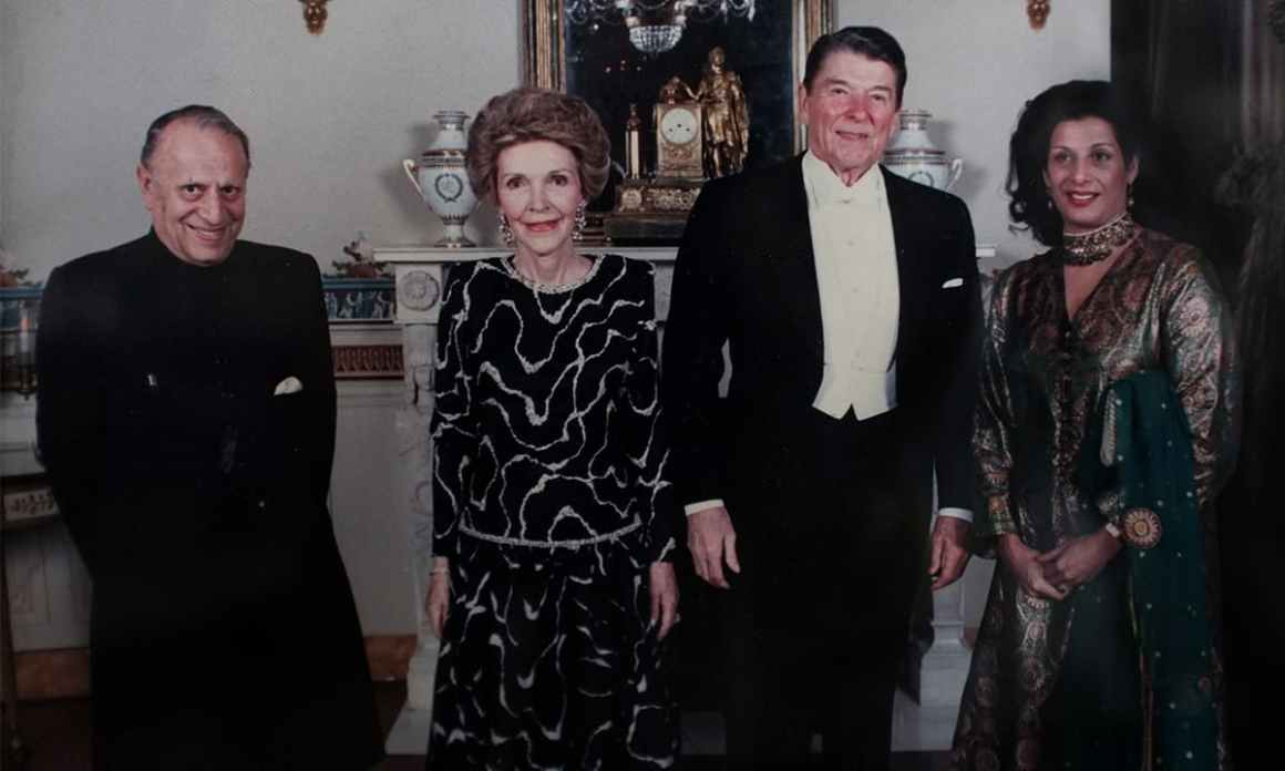 Marker (far-left) and his wife (far-right) pose with Ronald and Nancy Reagan | Courtesy Jamsheed Marker