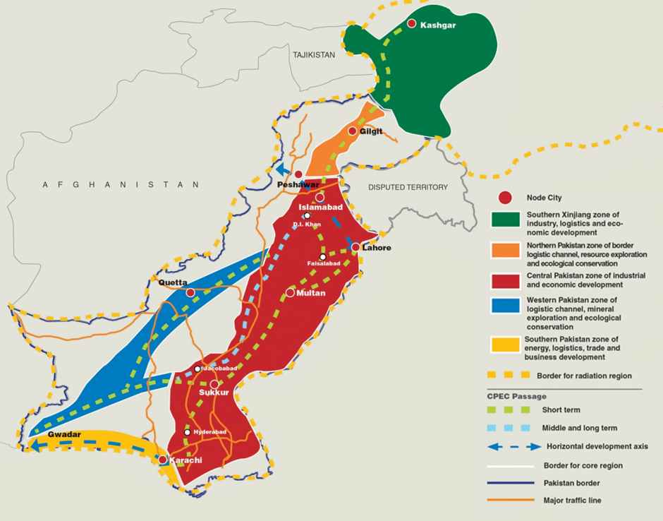 "The plan states at the outset that the corridor ""spans Xinjiang Uygur Autonomous Region and whole Pakistan in spatial range"". It's main aim is to connect South Xinjiang with Pakistan. It is divided into a ""core area"" and what they call the ""radiation zones"", those territories that will feel the knock on effects of the work being done in the core area. The core area includes ""Kashgar, Tumshuq, Atushi and Akto of Kizilsu Kirghiz of Xinjiang"" from China, and ""most of Islamabad's Capital territory, Punjab, and Sindh, and some areas of Gilgit-Baltistan, Khyber Pukhtunkhwa, and Balochistan"" from Pakistan. It has ""one belt, three passages, and two axes and five functional zones"", where the belt is ""the strip area formed by important arterial traffic in China and Pakistan""."