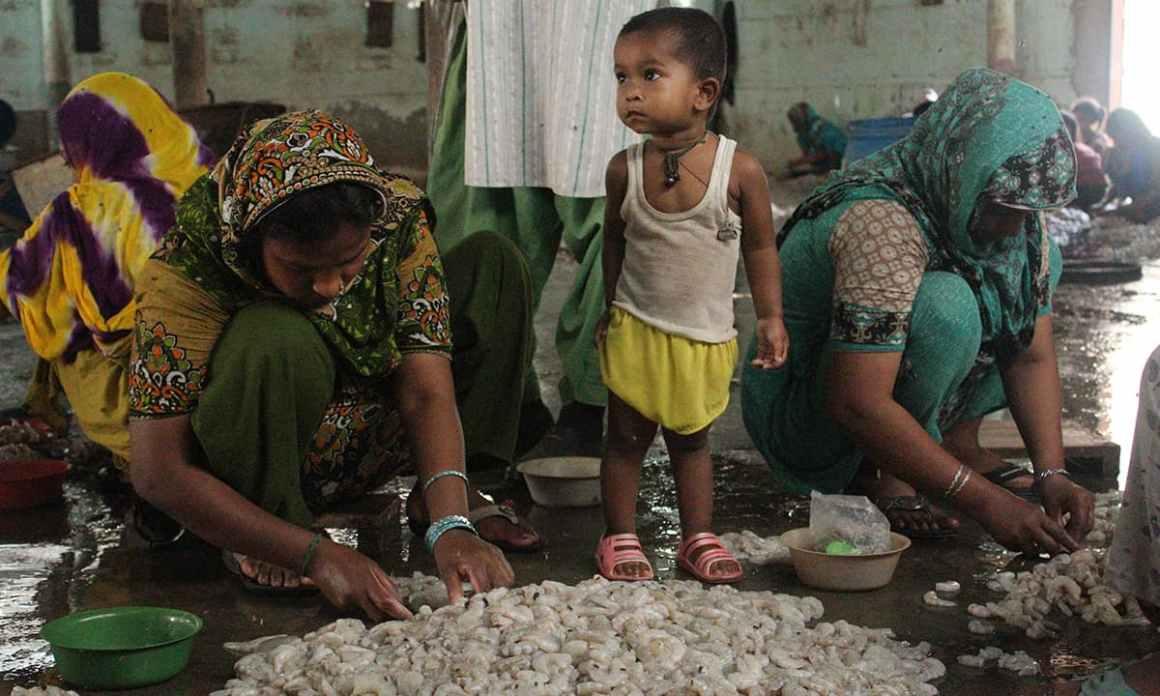 Bengali woman in Machar Colony peeling shrimps | Bilal Karim Mughal