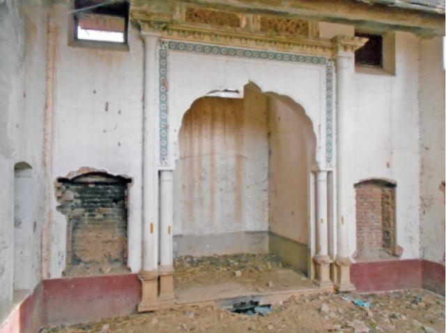 The inside of a crumbling gurdwara in Neelah village.
