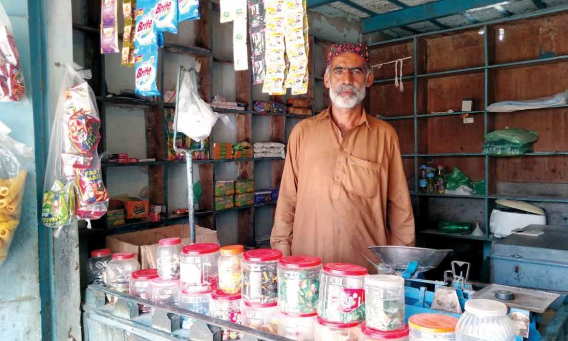 Abdul Karim Mangrio at his shop in Umerkot. Credit: Bilal Karim Mughal